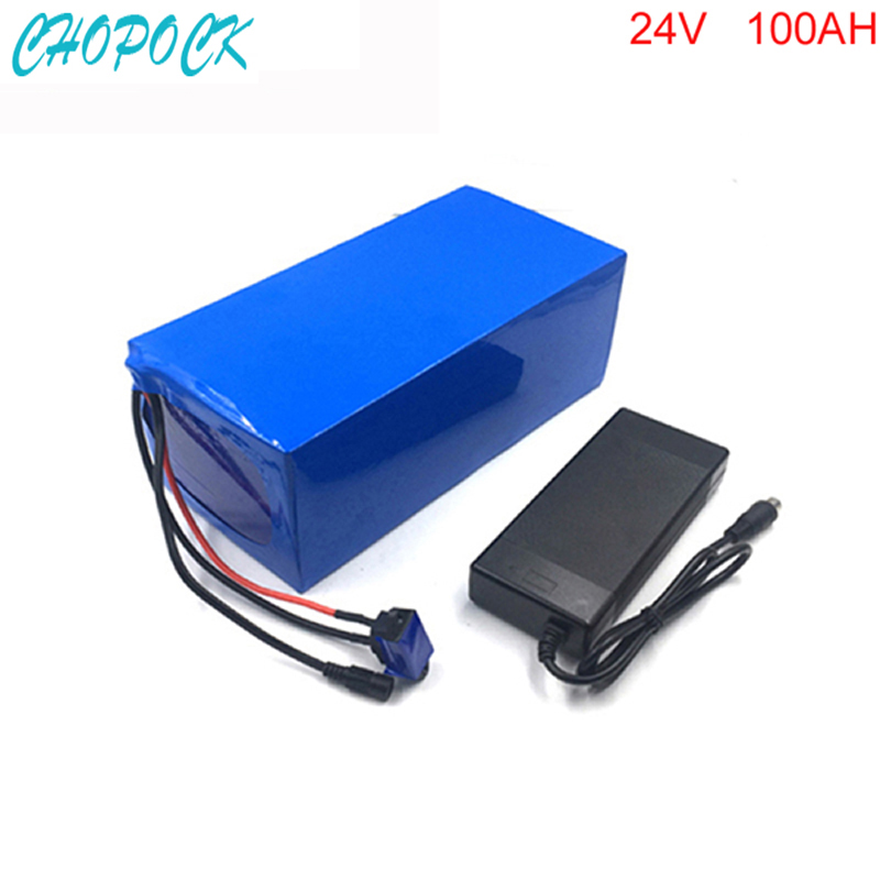 Free customs taxes DIY rechargeable lithium battery 24v 100ah lithium ion battery 24v 100ah li-ion battery pack +5A charger+BMS liitokala 6s6p 24v 25 2v 12ah battery 18650 lithium ion battery portable backup power pcb 24v 25 2v 1a battery charger