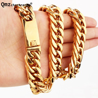 Qmzchentrendy Mens Gold/black Stainless Steel Curb Cuban Chain Necklace Boys Chain Punk Heavy Hip hop Men Jewelry Drop Shipping