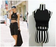 SEXY QUEEN Europe Street beat exclusive custom black hard -mei Department of hollow Xiaojian Short tunic vest T