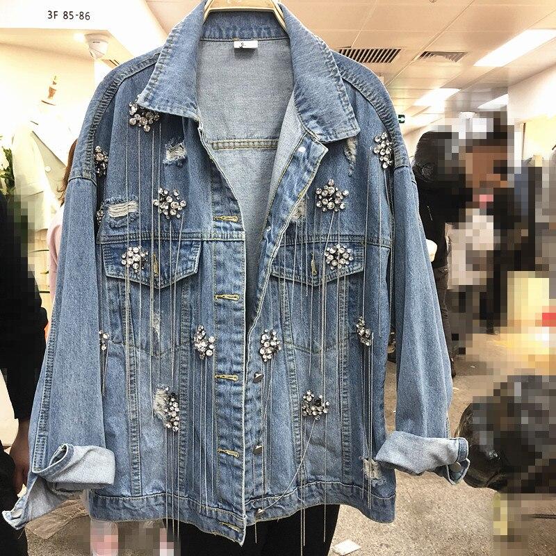 2020 Spring Autumn Women's Denim Cloth Fashion Diamond Chain Tassel Cowboy Jacket Ladies Casual Jeans Coat Students Streetwear