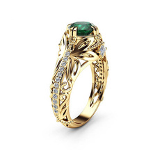 Huitan Vintage Gold-color Hollow Ring For Women Fashion Female AAA Cubic Zirconia Jewelry Luxury Prong Setting Engagement