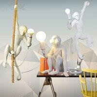 Scandinavian Creative Monkey Shape Resin Pendant Lights Retro E27 Restaurant Bedroom Cafe white Pendant lamp Lighting Fixture