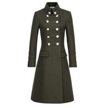 Плюс размер 2XL модное пальто в стиле милитари с тонким стоячим воротником двубортное зимнее кашемировое шерстяное пальто