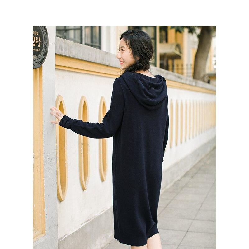إنمان 2019 الربيع الخريف جديد وصول الإناث مقنعين الرباط التطريز طويلة الأكمام الحياكة سترة-في فساتين من ملابس نسائية على  مجموعة 3