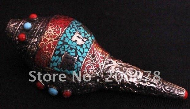 Tbc917 Tibetan Silver Capped Snail Handicrafts 140mm Music