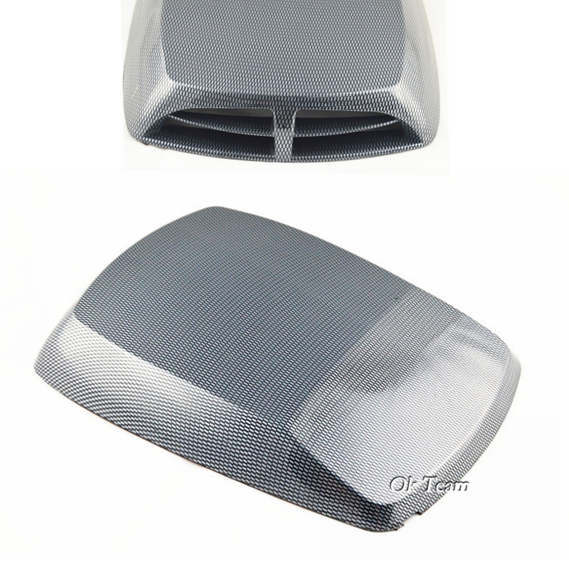 Universal Carbon fiber color Car decorative Air Flow Intake Scoop Turbo Bonnet Vent Cover hood free shipping car Stickers epr car styling for nissan skyline r33 gtr type 2 carbon fiber hood bonnet lip