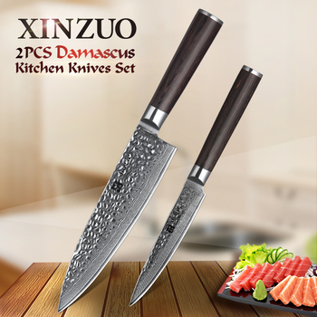XINZUO 2 PCS Kitchen Knife Set 67 Layers Japanese Damascus Stainless Steel High Quality VG10 Chef Utility Knives Pakkawod Handle