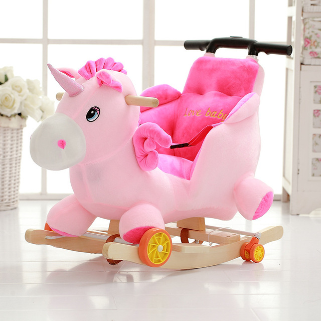 Big Size Plush Toy Lovely Animals Styles Rocking Horse Creative Gift Small  Trojan Woodenu0026plush Rocking Chair