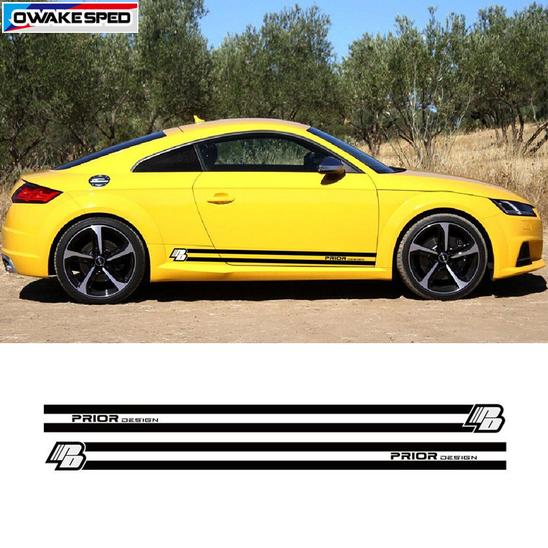 2Г— Prior Design Waist Line Car Auto Logo Decal Sticker for Mercedes BMW Audi VW