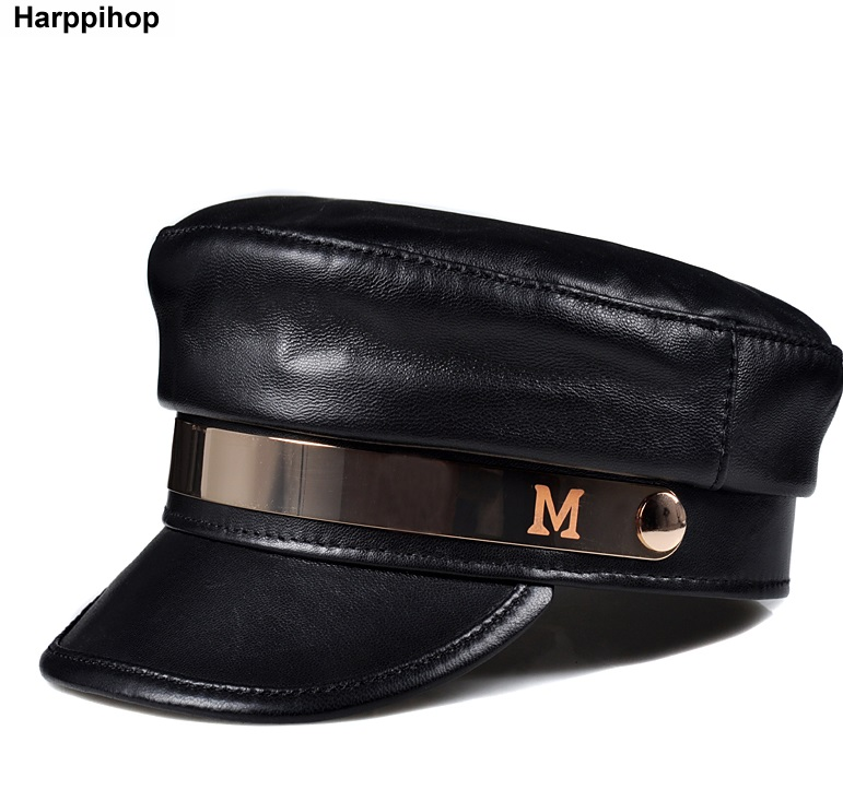 2018 Women Black Military Hats Autumn Winter Fashion genuine Leather sheepskin leather Caps With Belt Female