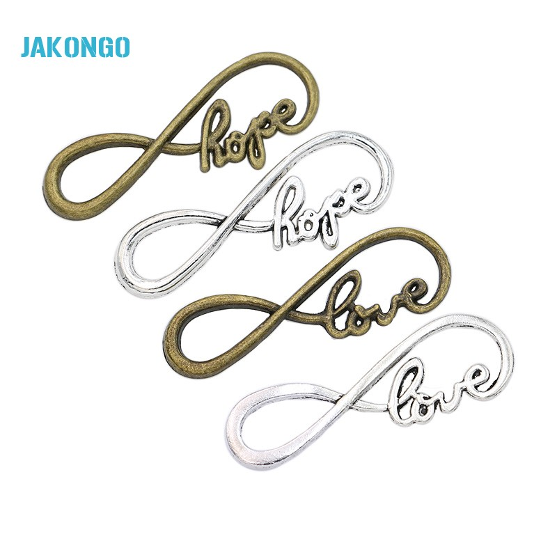 15pcs Antique Silver Plated Infinity Love Hope Connectors Charm Pendant Jewelry Making Findings Accessories DIY Handmade 38x13mm