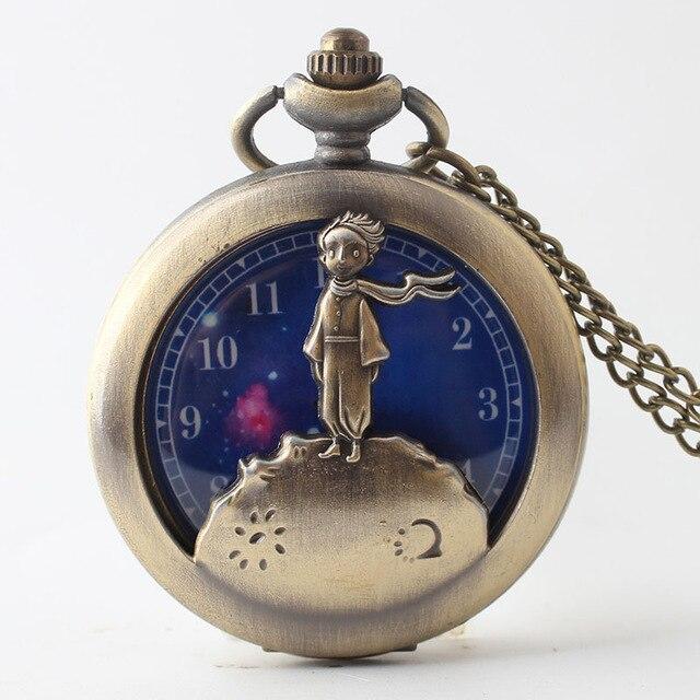 Beste Verkauf Retro Antike Bronze Kleine Prinz Quarz Taschenuhr Vintage Uhr Mit Fob Kette Für Kinder Cf1055