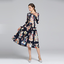 High quality 70% Silk women long sleeves vintage dress 2019 spring runway retro print D768