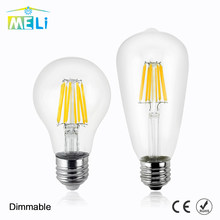 Dimmable LED Bulb E27 E14 C35 A60 ST64 Retro Lamps 2W 4W 6W 220V 240V LED Filament Light Gilded Glass Edison Candle Light(China)