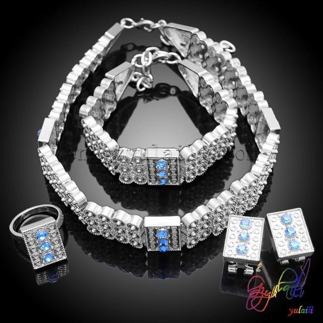 Бесплатная доставка посеребренные ювелирные изделия устанавливает Искусственные Свадебные украшения комплекты свинец и никель безопасны...