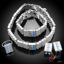 Free shipping silver-plated fashion jewelry sets artificial bridal jewelry sets lead and nickel safe fashion jewelry set
