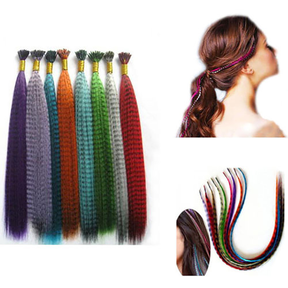 10pcs/pack Colorful Charming Grizzly Feathers Hair Extensions Long Straight Hairdressing Supplies