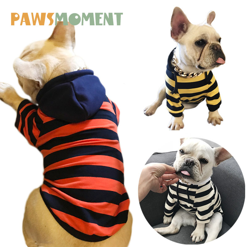 Pet Hoodies Summer French Bulldog Clothes Spring Dog Clothes For Dogs for Small Dogs Chihuahua Pug Costume Dog Striped Sweater