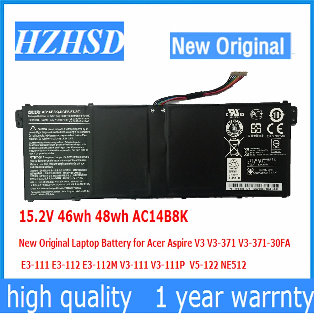 15.2V 46wh 48wh AC14B8K New Original Laptop Battery for Acer Aspire V3 V3-371 V3-371-30FA AC14B8K for acer aspire v3 371 v3 371 va30 hdd ffc 450 02bn04 0001 notebook sata hard disk drive hdd cable ribbon wire adapter connector