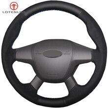 LQTENLEO черный натуральная кожа Замша Чехол рулевого колеса автомобиля для Ford Focus 3 2011- KUGA Escape 2013- C-MAX 2011