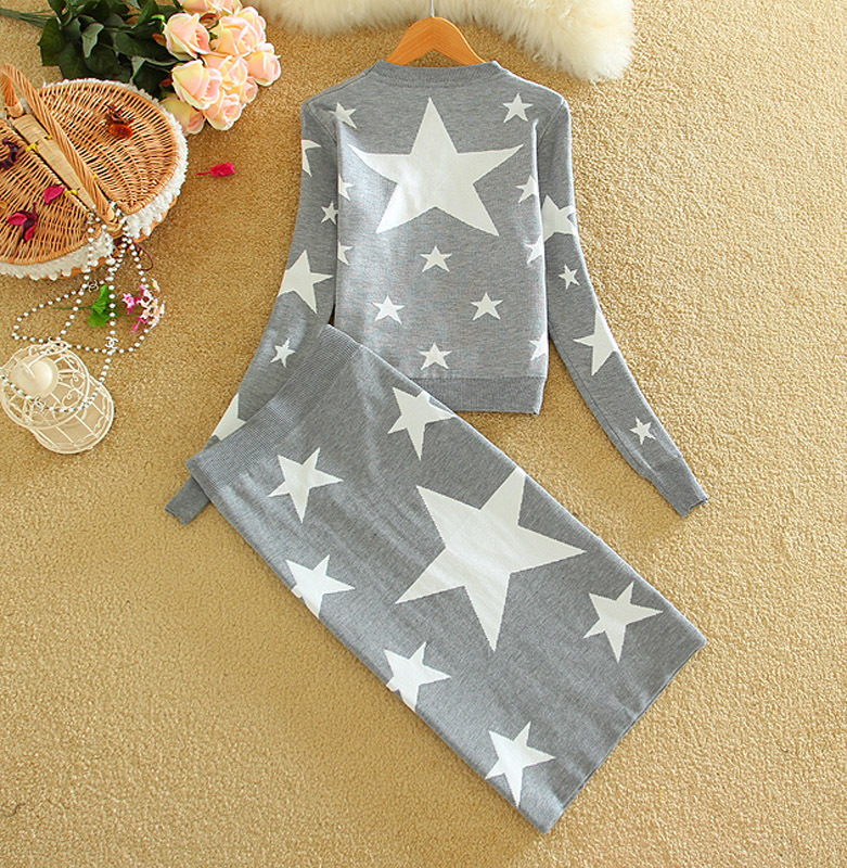 New Arrivals Women Fashion Knitted Stars Loose Pullover Suits Sweater & Knee-length Pencil Skirt Ladies 2 Piece Sets Winter