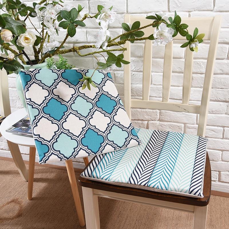 Blue Geometric Super Soft Chair Cushion Non Slip High