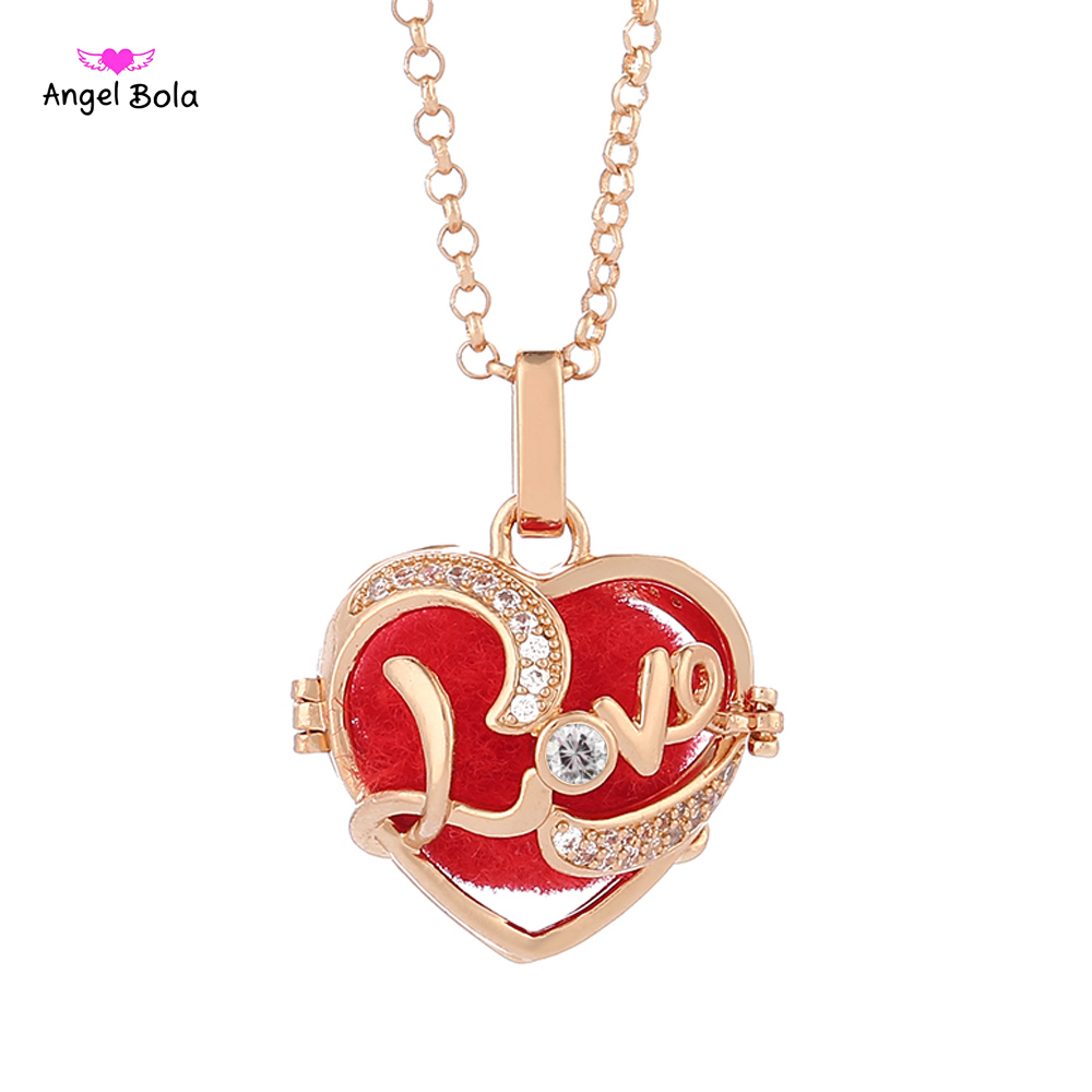 Angel Bola 10pcs Gold Jewelry Heart Love Pendant Necklace Essential Oils Aromatherapy Lockets For Women Romantic Accessories
