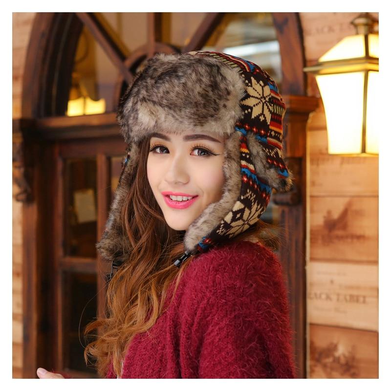 Super Warm Knitted Bomber Hat For Women Men Outdoor Wind Prevent Russian Hat Snowflower Trapper Hat Deer Earflap Hat Cap