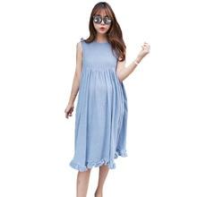 цены Linen Maternity Dress For Pregnant Women Clothes Sleeveless Loose Pregnancy Dresses Clothing Gravida Wear Summer 2019