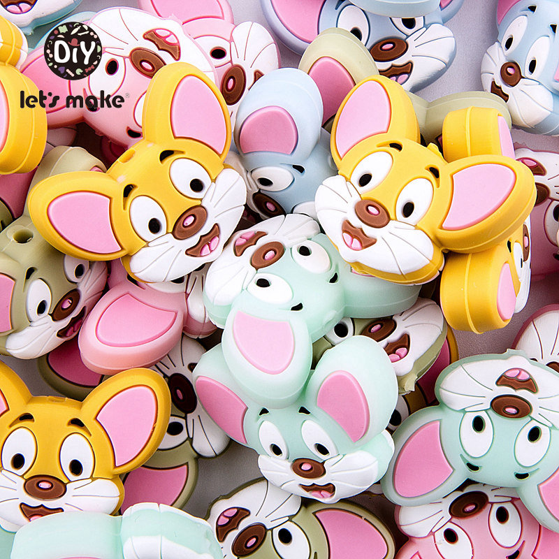 50pcs Silicone Beads Cartoon Mouse Teething Bead DIY Newborn Pacifier Clips Chains Dummy Clip Baby Teethers For Teeth Let's Make