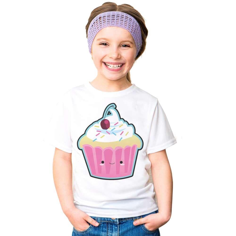 Fashion girls Summer Icecream Printed White T shirt Short Sleeve cotton T-Shirts top tees Girl delicious Dessert cupcake tshirt
