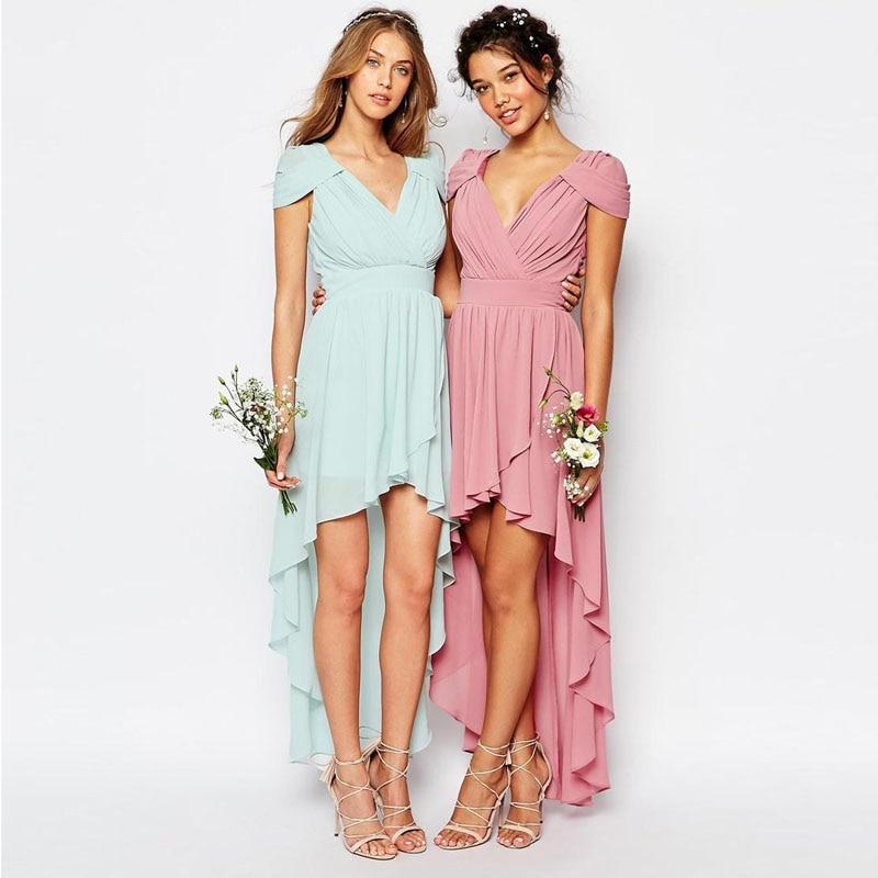 2016 New Fashion Pink Mint Green Chiffon Bridesmaid Dresses Cheap ...