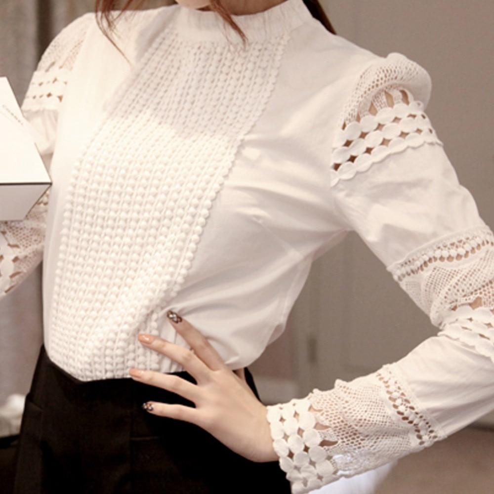 149636350d9 2019 кружева Шифоновая блузка Для женщин рубашка плюс Размеры Повседневное  Женские Длинные рукава Для женщин s Топы и блузки S-5XL крюк цветок п.