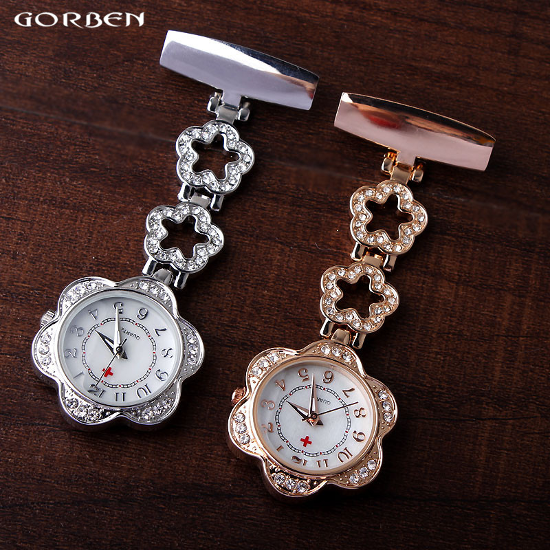 Medical Paramedic Brooch Pin Clip-on Fob Nurse Watch Crystal Flower Shape Rose Gold Silver Hanging-on Pocket Watch Doctor Gifts luxury crystal golden silver stainless steel nurses pin fob watch clip on hanging brooch round pocket watch men women relogio