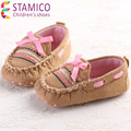 Infant Girls' Fashion Sneakers New born Infant Loafers Brown with Pink Butterfly-knot Solid Slip-on Flats Shoes