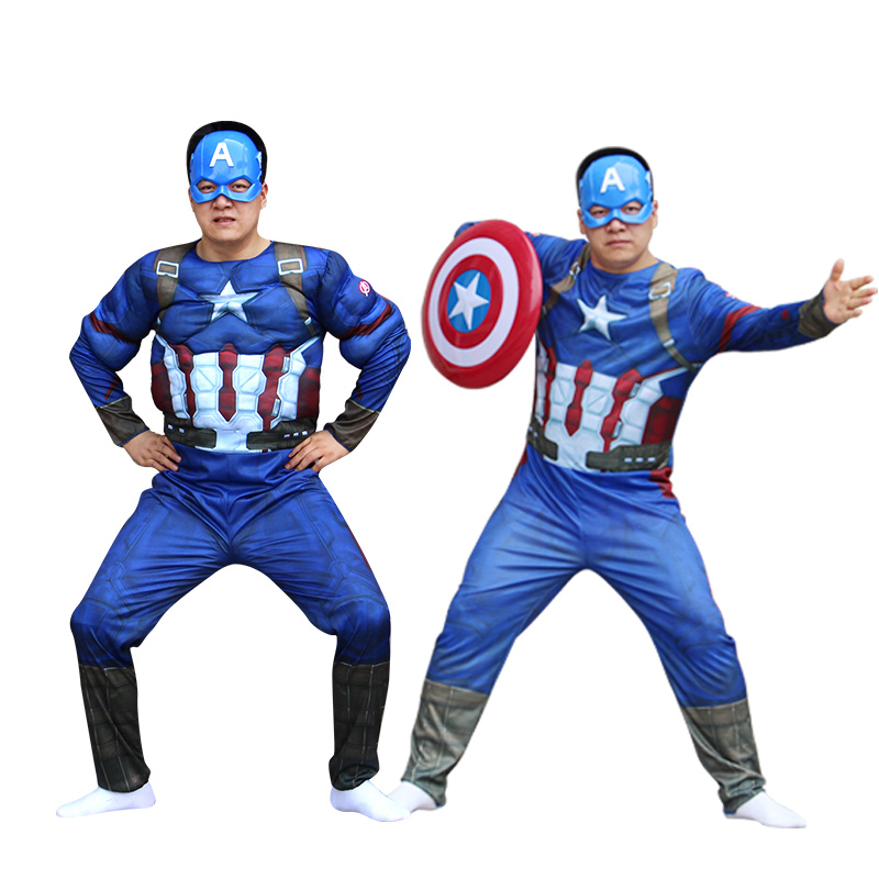 Free shipping Halloween captain america Muscle costumes anime cosplay carnival costume Christmas for adult men civil war