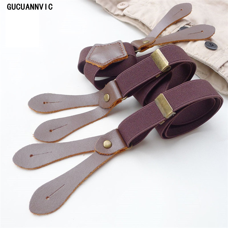 GUCUANNVIC Red Brown 2.0cm Wide Button Solid Suspenders Men Women Suspender Leisure Fashion Trend Wild Straps Send Button DK024