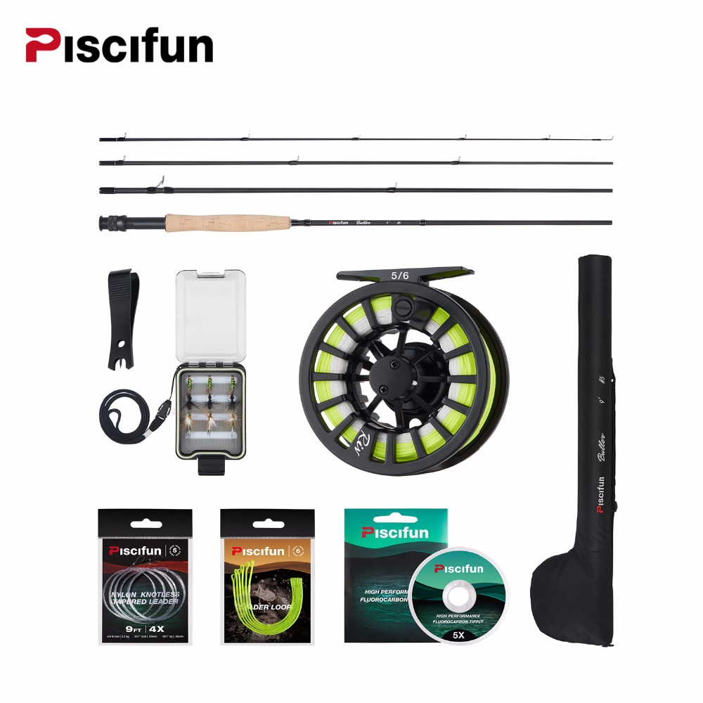 Piscifun Aluminum 5/6 Fly Reel 2.7m Carbon Rod Fly Line/Backing Line/9 PCS Flies/Tackle Box With 77cm Rod Bag Fly Rod Combo Piscifun Aluminum 5/6 Fly Reel 2.7m Carbon Rod Fly Line/Backing Line/9 PCS Flies/Tackle Box With 77cm Rod Bag Fly Rod Combo