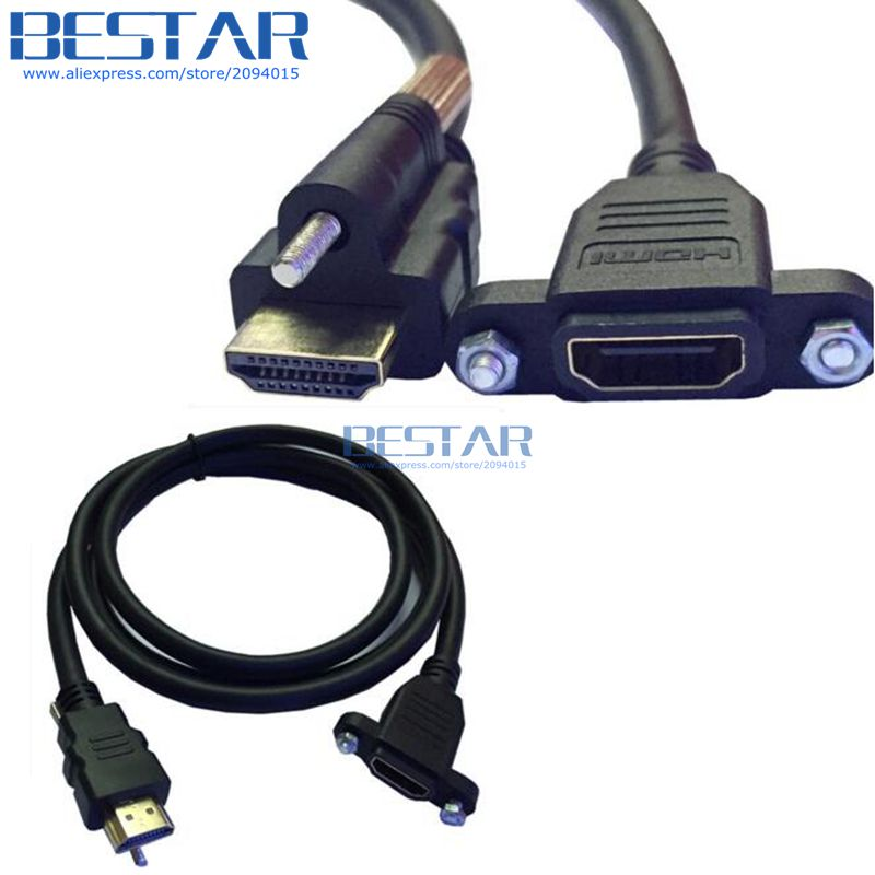 (100pcs/lot) HDMI male to female HD panel mount special extension cable hdmi1.4 connector with screw hole 1.5m 150cm 5FT