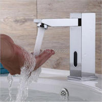 Free shipping High quality Square touchless sensor faucet automatic faucet sensor hospital toilet medical auto taps ZR6109