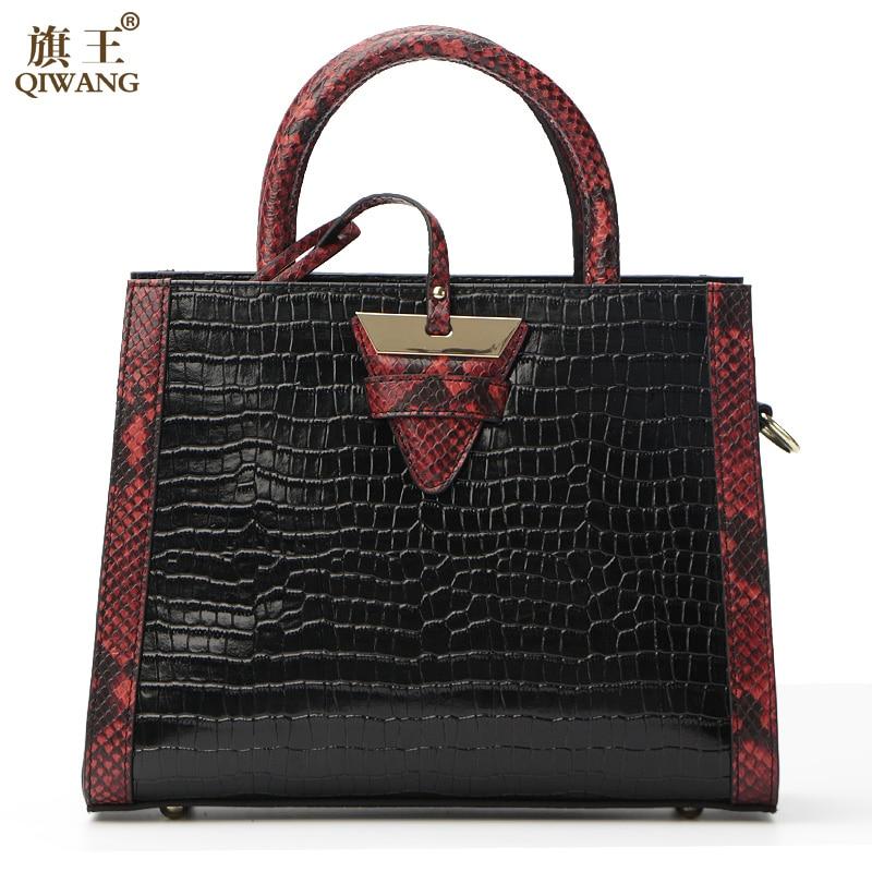 Qiwang Women Real Leather Handbag Genuine Leather Women Crocodile Handbag Triangle Famous Brand Designer Bag Secret of Desert