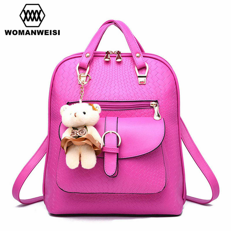 Backpack Women Fashion 2017 Brand New High Quality Leather Backpacks For Teenage Girls Lovely Bear Schoolbag Female Bag Pack