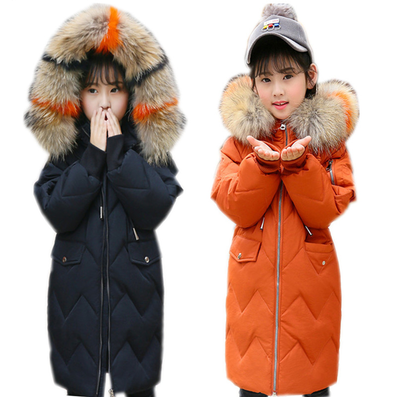 все цены на 6 to 14 years kids & teenager girls racoon fur hooded casual long down jacket & coat children fashion warm outwear clothing