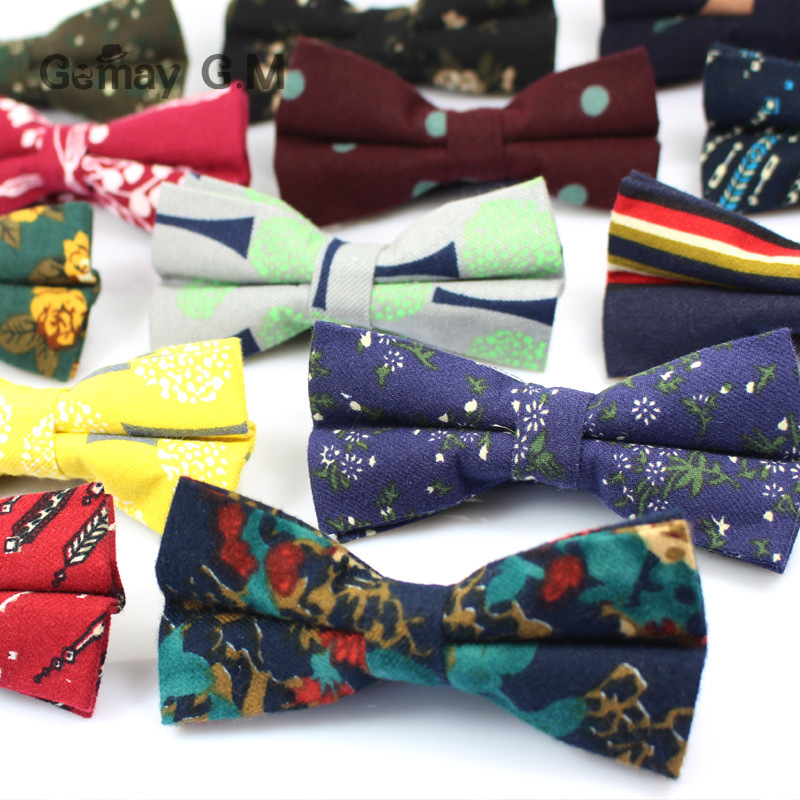 Brand New Mens Bowtie Slim Floral Skinny Cotton Bow ties Cravat Flower Ties for Man Classic Party Business Male Shirt Bowties