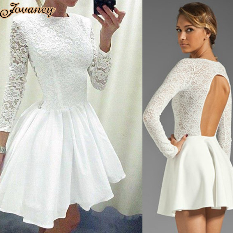 Mini free shipping 2014 pink lace - Neck Long Sleeves Homecoming Party Dress Open Back Short White Lace