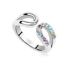 (3 цвета) роскошный посеребренные Для женщин jewelry чистоты Кольца  преувеличены Кристалл кольцо Bijoux Для женщин свадебные Кол.. 5933fc11617