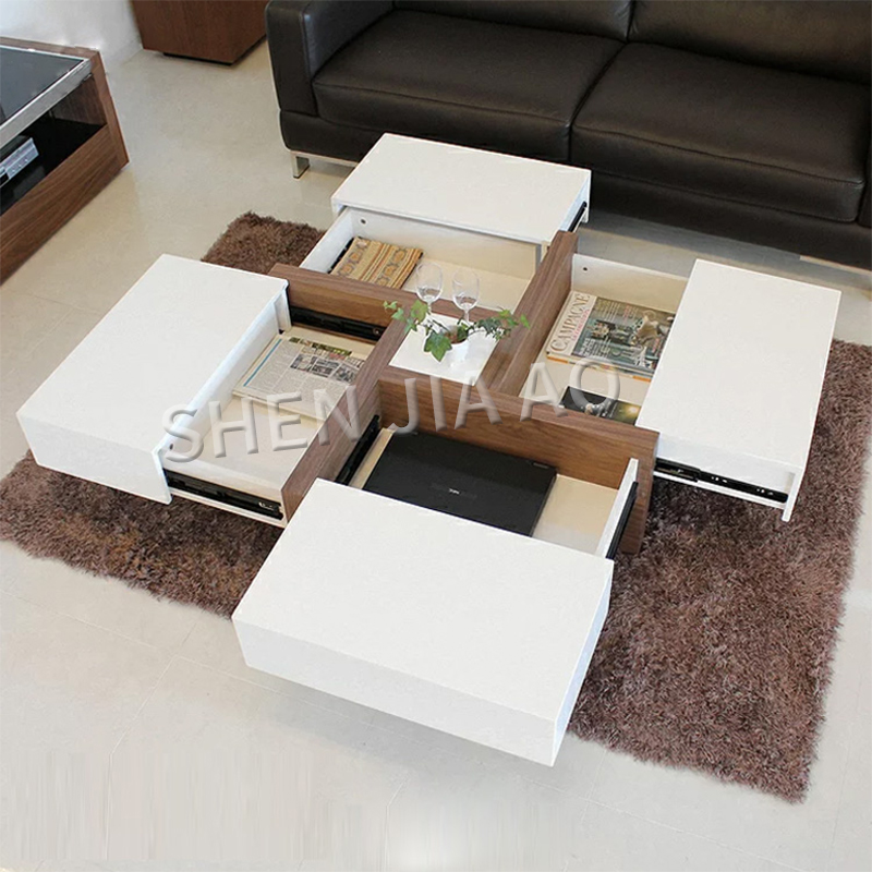 Creative salon Table basse moderne multi-fonction tiroir de rangement Table basse minimaliste carré réglable Table d'appoint 1 PC
