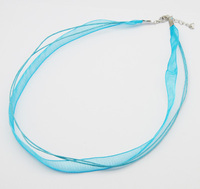 Pandahall 100pcs SkyBlue Jewelry Making Necklace Cord With 2 Threads Wax Cord Organza Ribbon And Iron