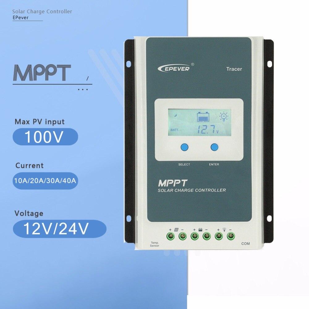 MPPT EPever Контроллер заряда 40A 30A 20A 10A Tracer серии подсветкой ЖК-дисплей регулятор для свинцово- кислота литий-ионный Батарея