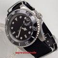40 мм черный циферблат светящиеся отметки сапфировое стекло автоматические мужские часы P210